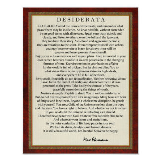 Traditionelle Art-Desiderata-Gedicht durch Poster