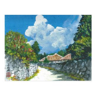Traditionelle Okinawan Dorf-Malerei-Postkarte Postkarte