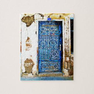 Traditionelle Vintage alte Griechenland-Blau-Tür