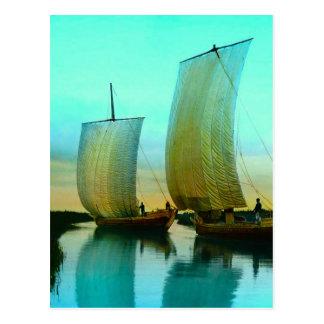 Traditioneller japanischer Kram-Fischerboote Postkarte