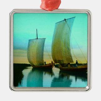 Traditioneller japanischer Kram-Fischerboote Silbernes Ornament