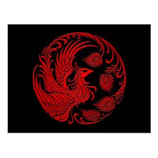 Traditioneller roter Phoenix-Kreis Postkarte