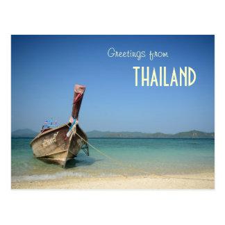 traditionelles langes Transportboot Thailands Postkarte