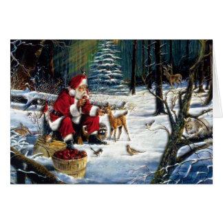 Traditionelles Weihnachten Sankt im Park Grußkarte