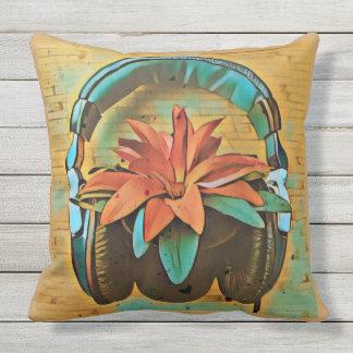 Tragende Kopfhörer der Retro Pflanze Kissen Für Draußen