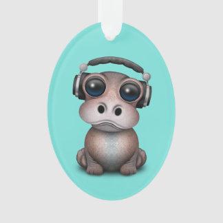 Tragende Kopfhörer niedliches Baby-Flusspferd-DJ Ornament