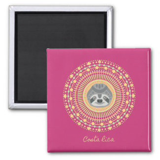 Trägheits-Mandala-Andenken-Magnet Costa Ricas rosa Quadratischer Magnet
