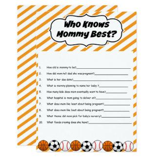 Trägt Babyparty zur Schau, die Mama-bestes Spiel Karte