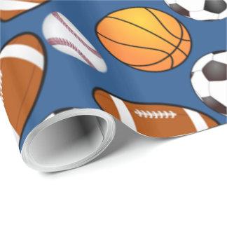 Trägt Fußballfußballbaseball-Basketball Muster zur Geschenkpapier