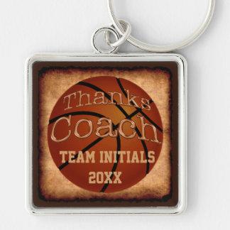 Trainer-personalisierter Vintager Basketball Silberfarbener Quadratischer Schlüsselanhänger