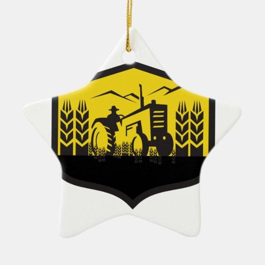 Traktor, der das Weizen-Bauernhof-Wappen Retro Keramik Stern-Ornament