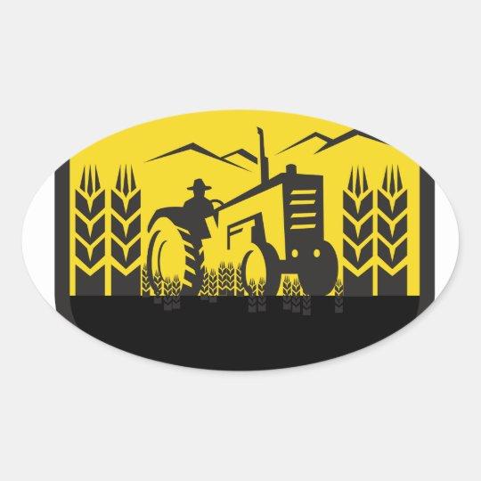 Traktor, der das Weizen-Bauernhof-Wappen Retro Ovaler Aufkleber