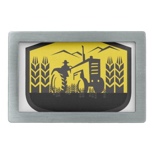 Traktor, der das Weizen-Bauernhof-Wappen Retro Rechteckige Gürtelschnallen