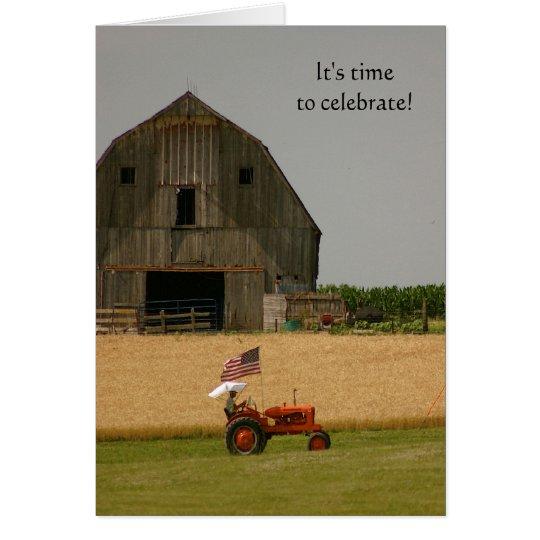 Traktor-Einladung: Zeit zu feiern! Mitteilungskarte