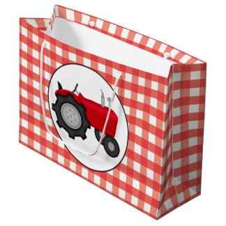 Traktor-Partygingham-Arttasche des Landes rote Große Geschenktüte