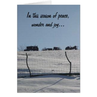 Traktor-Schnee-Szenen-Weihnachtskarte Karte