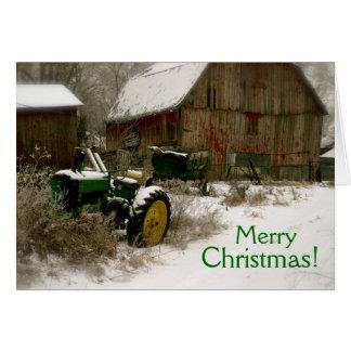 Traktor-Weihnachtskarte: Traktor u. Wagen Karte