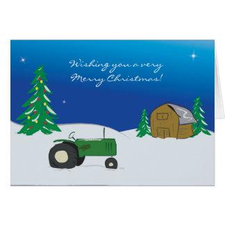Traktor-Weihnachtskarte: Winter-Scheunen-Szene Grußkarte