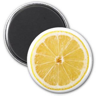 Tranche de citron frais magnet rond 8 cm