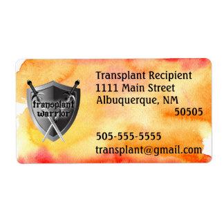 Transplantations-Kriegersschild-Adressen-Etikett Versand Aufkleber