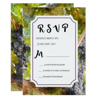 Traube und Weinbergwatercolor-Hochzeit UAWG Karte
