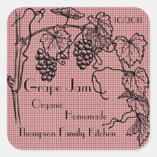 Trauben-Marmeladen-Glas-Aufkleber (fertigen Sie) Quadratischer Aufkleber
