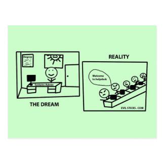 Traum gegen Wirklichkeit - arbeitend in IHR Postkarte