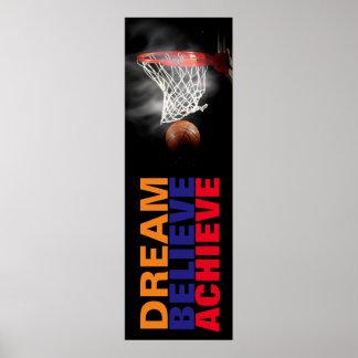 Traum glauben erzielen Basketball-stilvolle Tür Poster