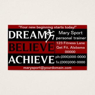 Traum glauben erzielen persönlichen Trainer Visitenkarte