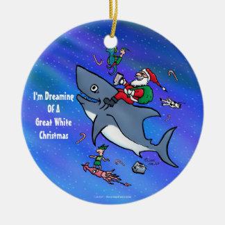 Träumen eines Hai-lustigen Weihnachten Keramik Ornament