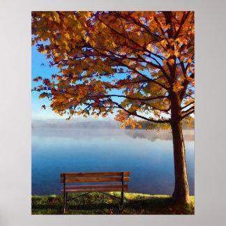 Träumender Herbst-Seeufer Poster
