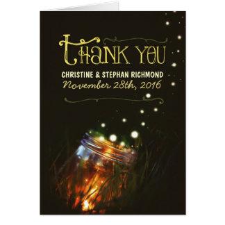 Träumerische Hochzeit des Licht-Weckglases danken Mitteilungskarte