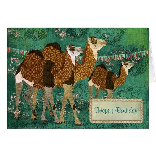 Träumerische Kamel-verzierte Grußkarte