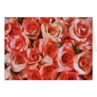 Träumerische rosa Rosen-Gruß-Karten Karte