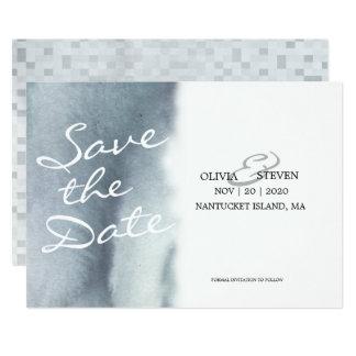 Träumerischer blaues GrauWatercolor, der Save the 12,7 X 17,8 Cm Einladungskarte