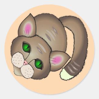 Traurige Katze Runder Aufkleber