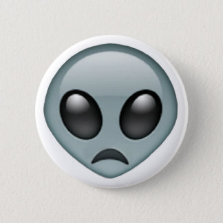 Trauriges alien Emoji Runder Button 5,7 Cm