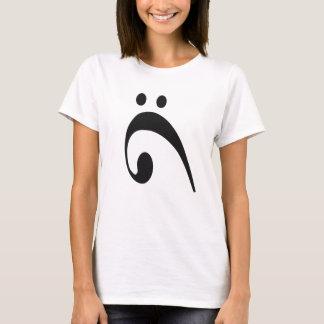 Trauriges Bassschlüssel-Schwarzes T-Shirt