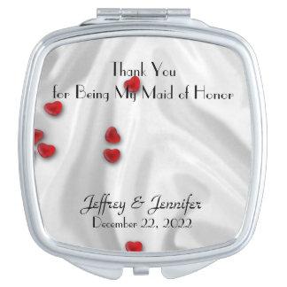 Trauzeugin danken Ihnen Herz-kompakter Spiegel Taschenspiegel