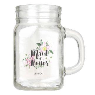 Trauzeuginblumenwatercolor-Hochzeit Einmachglas