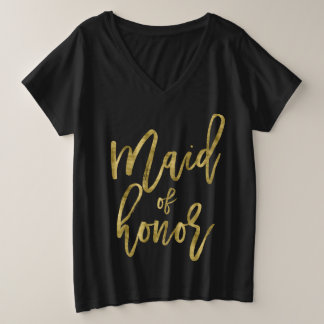 Trauzeuginc$plus-size V-Hals Imitat-Gold Große Größe V-Ausschnitt T-Shirt