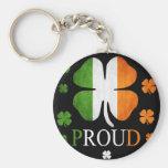 Trèfle irlandais de feuille du drapeau quatre porte-clefs