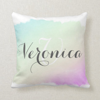 Trendy aquamarines und lila Watercolor-Spritzen Kissen