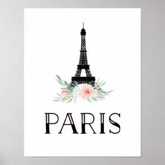 Trendy Eiffel-Turm und erröten rosa Blumen | Paris Poster