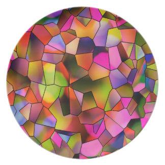Trendy Farbabstrakte Kunst-beflecktes Glas Teller