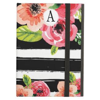 Trendy gemalte Blumen mit Schwarz-weißen Streifen