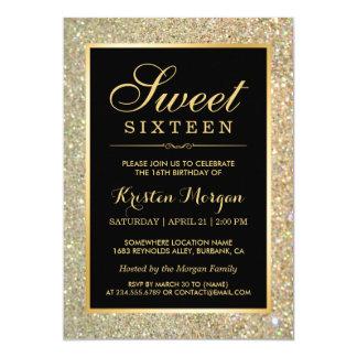 Trendy GoldGlitter-Glitzern-16. Geburtstag-Party 12,7 X 17,8 Cm Einladungskarte