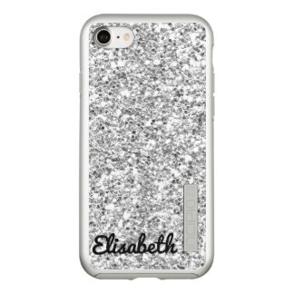 Trendy heißes Silber DruckGlitter personalisiert Incipio DualPro Shine iPhone 8/7 Hülle