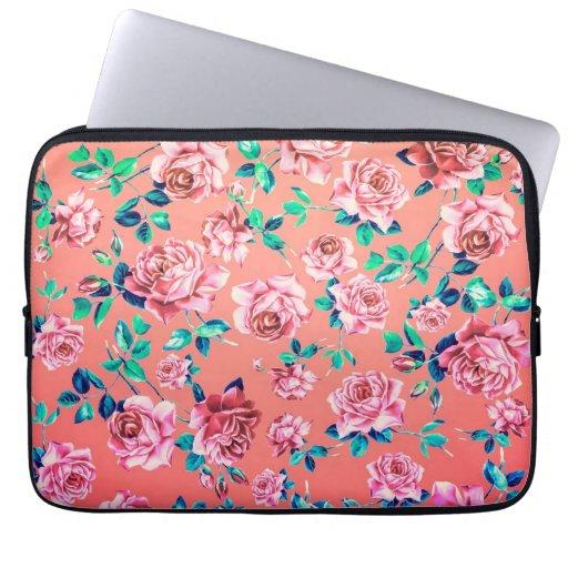 Trendy helles Girly rosa Vintages Blumenmonogramm Laptop Schutzhüllen