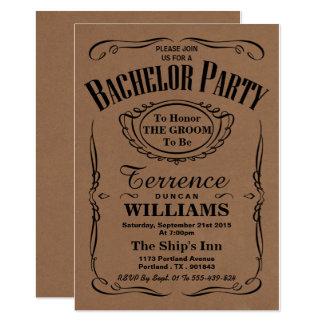 Trendy Kraftpapier-Typografie-Junggeselle-Party 12,7 X 17,8 Cm Einladungskarte